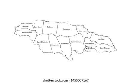 Vector isolated illustration of simplified administrative map of Jamaica. Borders and names of the parishes (regions). Black line silhouettes.