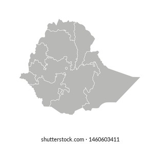 Vector isolated illustration of simplified administrative map of Ethiopia. Borders of the regions. Grey silhouettes. White outline.