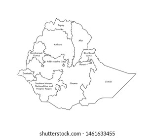 Vector isolated illustration of simplified administrative map of Ethiopia. Borders and names of the regions. Black line silhouettes.
