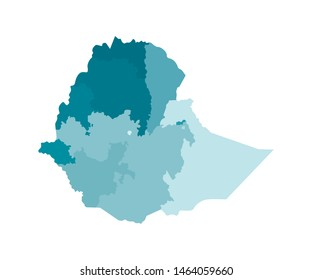 Vector isolated illustration of simplified administrative map of Ethiopia. Borders of the regions. Colorful blue khaki silhouettes.