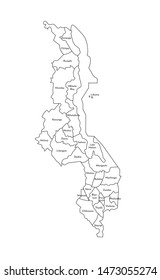 Vector isolated illustration of simplified administrative map of Malawi. Borders and names of the districts (regions). Black line silhouettes.