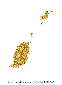 Vector isolated illustration with simplified Grenada map. Decorated by shiny gold glitter texture. Christmas and New Year holidays' decoration for greeting card.