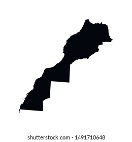 Vector isolated illustration - simplified map  of Morocco (including disputed territory of Western Sahara). Black silhouette. White background.