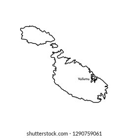 Vector isolated illustration of simplified political map of South Europe state - Republic of Malta. Marked capital - Valletta. Black line silhouette. White background