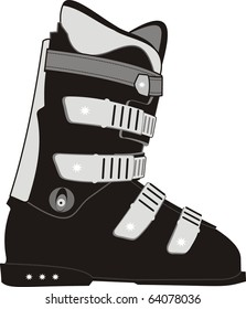 Vector isolated illustration of ski sports boot on white background