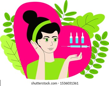 Vector isolated illustration where syringes with ampoules are depicted above hand of an attractive woman, background is decorated with leaves. The concept of beauty injection in cosmetology