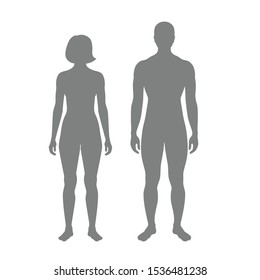 Vector isolated illustration of woman and man silhouette. Isolated black illustration