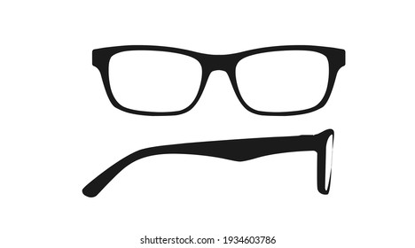 Vector isolated Illustration of a Women Glasses Frame. Black glasses Frame Front and Side View