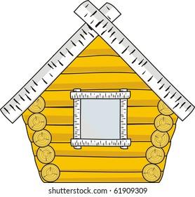 Vector isolated illustration - wooden hut - cartoon style