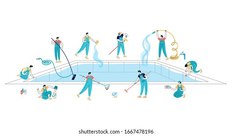 Vector isolated illustration of workers in uniform cleaning a swimming pool with tools. Skimming, brushing, vacuuming, adding chemicals, testing. Pool maintenance basics.