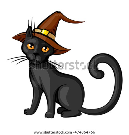 6da0a25c Vector isolated illustrations of cartoon Halloween cat in hat contour color  isolated on white background
