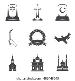 Vector isolated image burial, headstones, graves, funerals and cemeteries. Monochrome line symbols of sorrow and grief. Funeral services and printing. Set of 9 graphic icons