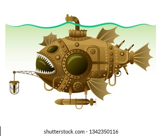 Vector isolated image of the complex fantastic submarine in the form of fish with machinery, equipment and armament. Steampunk design submarine