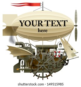 Vector isolated image of the complex fantastic flying ship with machinery, dirigible, sail, wings, water-wheel, spyglass and other equipment. Steampunk style design