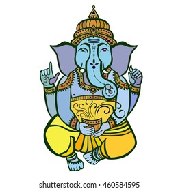 Vector isolated image of Hindu lord Ganesh.