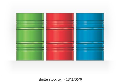 Vector isolated image three color steel barrels