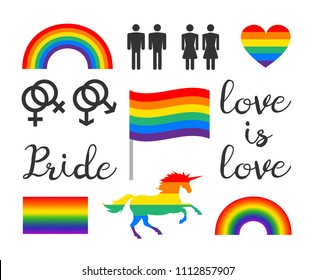 vector isolated infographic elements of lgbt trans sexual lesbian gay bi pride rainbow lettering signs and symbols on white background