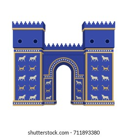 Vector isolated Ishtar Gate in Babylon on white background