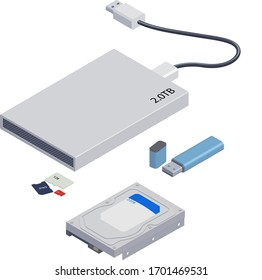 Vector Isolated Isometric Illustration of Computer Memory Devices. Memory Card, Hrd Disk, Usb Flash, Microchip, Drive, Disk, Copy, Portable, Recovery, External, Cable Modern Media Odjects.