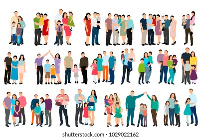 vector, isolated isometric people set of  family