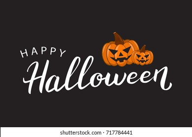 Vector isolated lettering for Halloween and pumpkins for decoration and covering on the dark background. Concept of Happy Halloween.