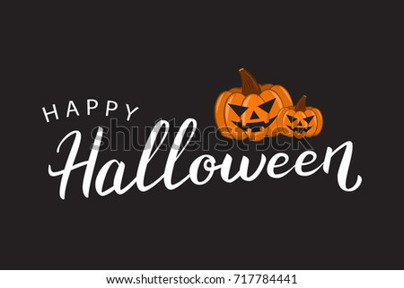 vector isolated lettering halloween pumpkins decoration のベクター