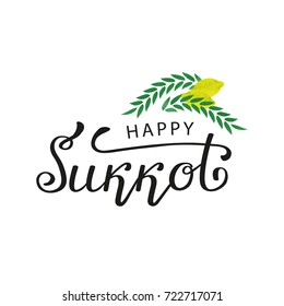 Vector isolated lettering for Happy Jewish Holiday Sukkot for decoration and covering on the white background.