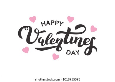 Vector isolated lettering for Valentine's Day with hearts for decoration and covering on the white background. Concept of Happy Valentine's Day. - Shutterstock ID 1018955593