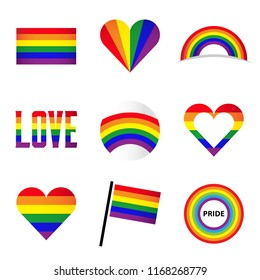 Vector isolated LGBT rainbow symbol collection  - for gay, lesbian, bisexual, transgender, asexual, intersexual and queer relationship, love or sexuality