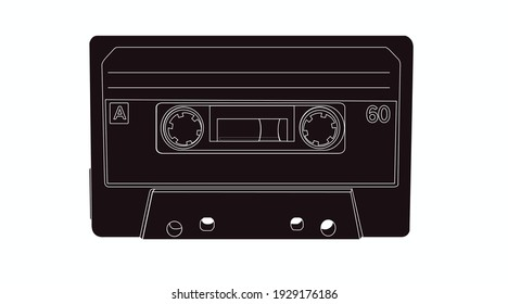 Vector Isolated Lines Illustration of a Cassette, black and white illustration of a music tape