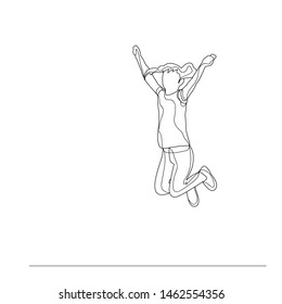 vector, isolated lines with a sketch of a girl child jumping