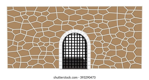 vector isolated medieval close gate castle illustration 1
