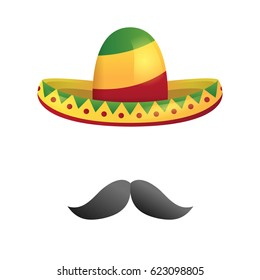 Vector isolated mexican sombrero hat and with moustache for funny decoration. Concept of Happy Cinco De Mayo.