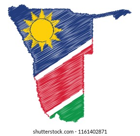 Vector of isolated Namibia map with the flag. Engraving style hatching pen pencil painting illustration concept.