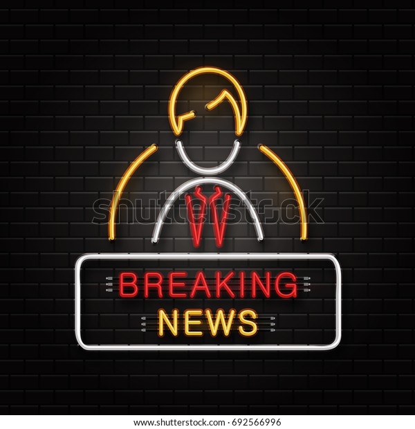 Vector isolated neon sign of anchorman for decoration on the wall background. Realistic neon logo signboard for breaking news. Concept of journalism profession, media and broadcast.