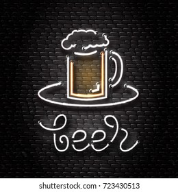 Vector isolated neon sign of beer mug for decoration on the wall background. Realistic neon logo for beer bar. Concept of cafe, pub or restaurant.