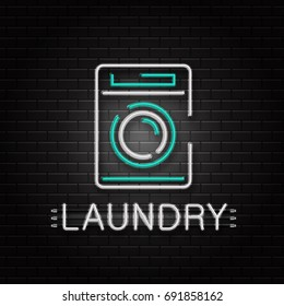 Vector isolated neon sign of washing machine for decoration on the wall background. Realistic neon logo for laundry. Concept of housekeeping and cleaning service.