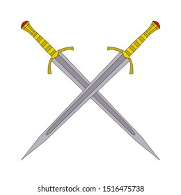 vector, isolated, on a white background, two sword, saber