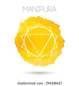 Vector isolated on white background illustration of one of the seven chakras - Manipura, the symbol of Hinduism, Buddhism. Watercolor hand painted texture. For design, associated with yoga and India.