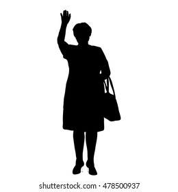 vector, isolated on a white background, the silhouette of an elderly woman waving
