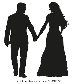vector, isolated on a white background, the silhouette of the bride and groom holding hands