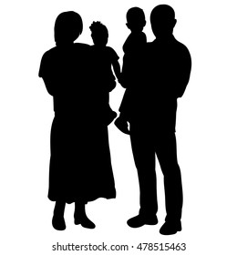 vector, isolated on a white background, the silhouette of a family with children,