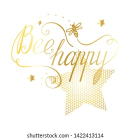 Vector isolated on white card template with honey bee and golden shiny stars