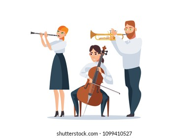 Vector isolated on white group of people playing musical instruments as cello, flute, trumpet. Beautiful people playing classical music