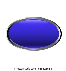 Vector isolated on white template of blue glossy button. Realistic polished red key for logo, banner and icon design. Chrome metal oval frame elements