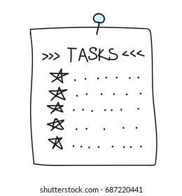 Vector isolated outline hand drawn check to do list, bullet, check mark and check box in a doodle sketch cartoon style. Paper note with task plan with star.