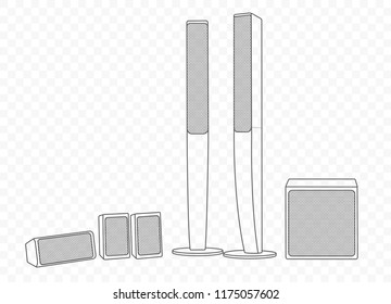 Vector Isolated Outline Illustration Hifi Hiend Stock Vector