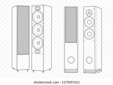 Vector isolated outline illustration of hi-fi hi-end speakers. Multimedia acoustics for music play and voice record with subwoofer.