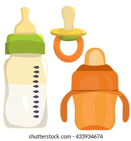 vector, isolated, pacifier, bottle of milk and sippy cups