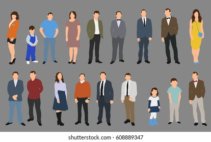Vector, isolated, people collection